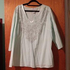 Tops - Blue beaded long sleeve blouse